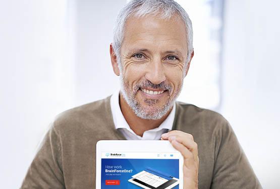Old man with iPad